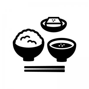 ご飯とみそ汁と小鉢の白黒シルエットイラスト