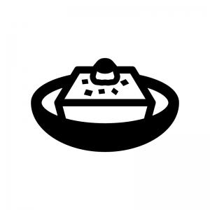 冷奴・湯豆腐の白黒シルエットイラスト