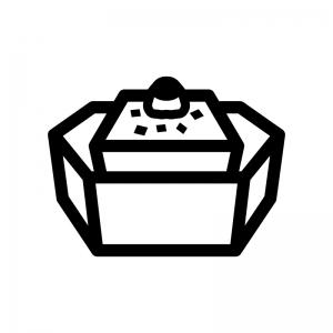 冷奴・湯豆腐の白黒シルエットイラスト02