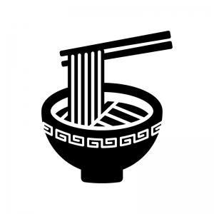 ラーメンの白黒シルエットイラスト04