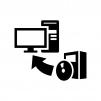 ソフトウェアをインストールの白黒シルエットイラスト