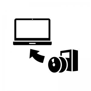 ソフトウェアをインストールの白黒シルエットイラスト04