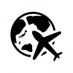 地球と飛行機の白黒シルエットイラスト02