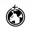 地球と飛行機の白黒シルエットイラスト03