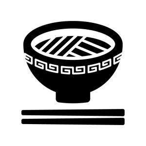 ラーメンの白黒シルエットイラスト02