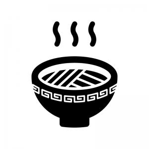 ラーメンの白黒シルエットイラスト03