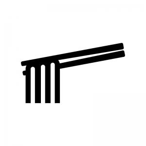 太麺と箸の白黒シルエットイラスト