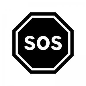 SOSの白黒シルエットイラスト