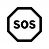SOSの白黒シルエットイラスト02
