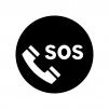 電話でSOSの白黒シルエットイラスト