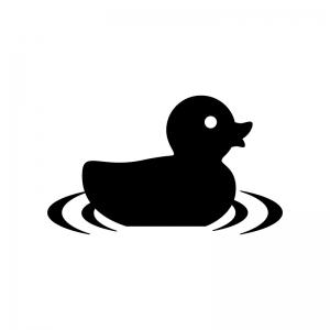 水に浮かぶアヒルのおもちゃの白黒シルエットイラスト