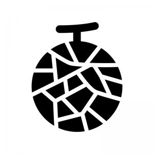 メロンの白黒シルエットイラスト02