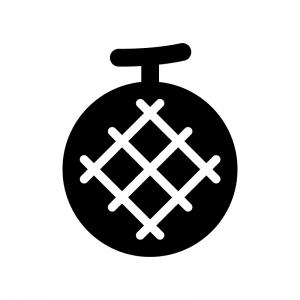 メロンの白黒シルエットイラスト03