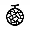 メロンの白黒シルエットイラスト04