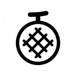 メロンの白黒シルエットイラスト05