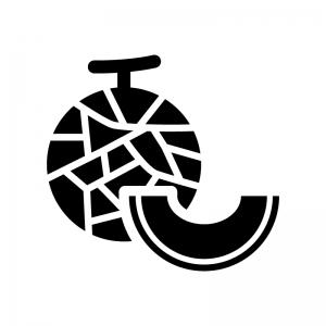 メロンとカットメロンの白黒シルエットイラスト