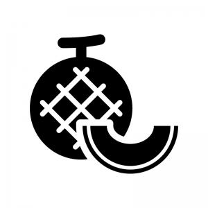 メロンとカットメロンの白黒シルエットイラスト02