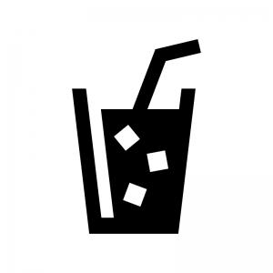 氷入りのジュースのシルエットイラスト03