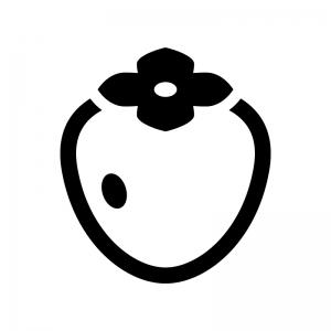 渋柿・筆柿の白黒シルエットイラスト02