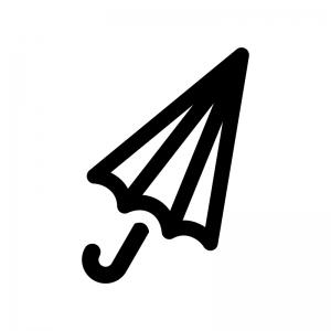 閉じている傘・パラソルの白黒シルエットイラスト