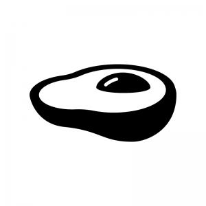 アボカドの白黒シルエットイラスト03