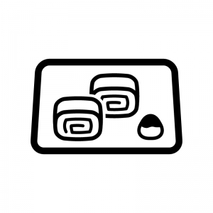玉子焼きの白黒シルエットイラスト02