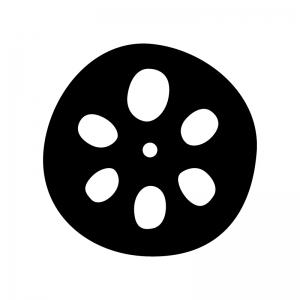 蓮根の白黒シルエットイラスト