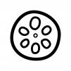 蓮根の白黒シルエットイラスト02
