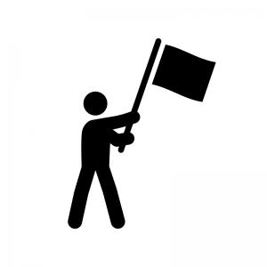 旗を振る人物の白黒シルエットイラスト02