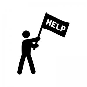 HELPの旗を振る人物の白黒シルエットイラスト