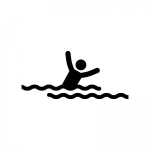 水に溺れている人の白黒シルエットイラスト
