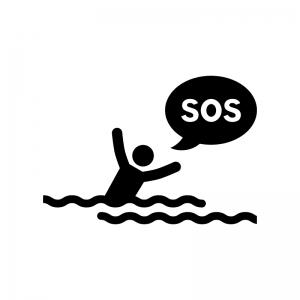 水に溺れている人の白黒シルエットイラスト02