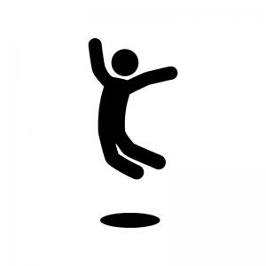 ジャンプして喜んでいる人物の白黒シルエットイラスト