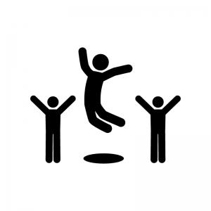 ジャンプして喜んでいる人物の白黒シルエットイラスト02