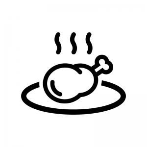 お皿に盛った骨付き肉の白黒シルエットイラスト02