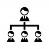 会社の組織図の白黒シルエットイラスト