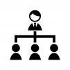 会社の組織図の白黒シルエットイラスト02