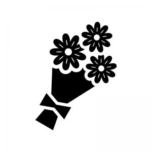 花束の白黒シルエットイラスト02