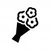 花束の白黒シルエットイラスト03