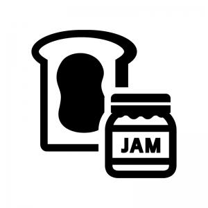 食パンとジャムの白黒シルエットイラスト02