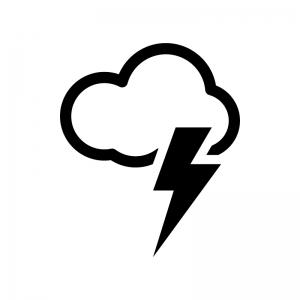 天気・雷雨の白黒シルエットイラスト