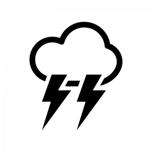 天気・雷雨の白黒シルエットイラスト02