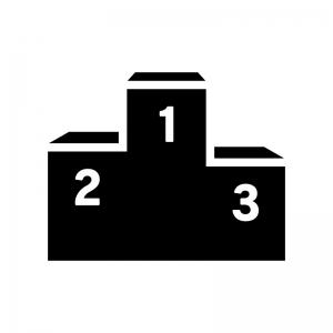 表彰台の白黒シルエットイラスト02