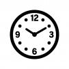 数字入り時計の白黒シルエットイラスト