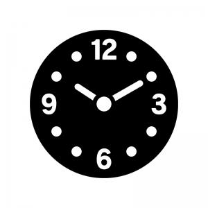 数字入り時計の白黒シルエットイラスト02