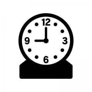 置き時計の白黒シルエットイラスト