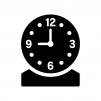 置き時計の白黒シルエットイラスト02