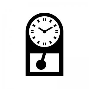 振り子時計の白黒シルエットイラスト02