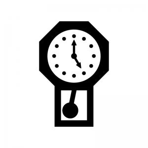 振り子時計の白黒シルエットイラスト03
