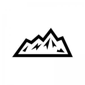 雪山の白黒シルエットイラスト03